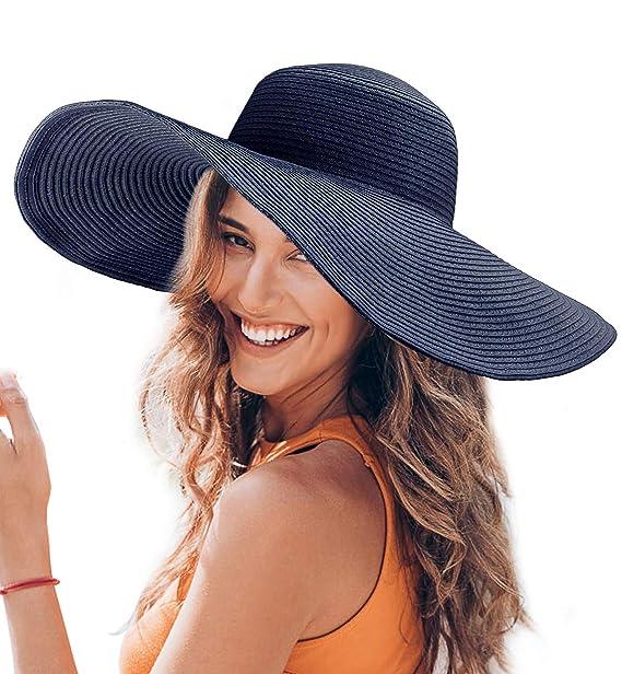 Dafunna Sombrero de Paja para Mujer de ala Ancha UPF 50+ Plegable Sombrero  de Sol abf0e4a3fbc