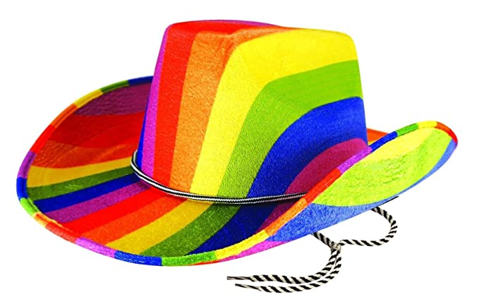 76bbb87a6ed0c Rimi Hanger Adults Rainbow Cowboy Felt Hat Mens Gay Pride Carnival Fancy  Dress Costume Hat One Size at Amazon Women s Clothing store