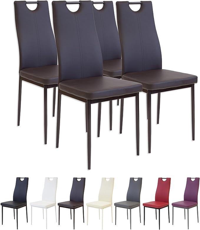 Albatros 2910 Salerno Set de 4 sillas de Comedor, marrón: Amazon ...