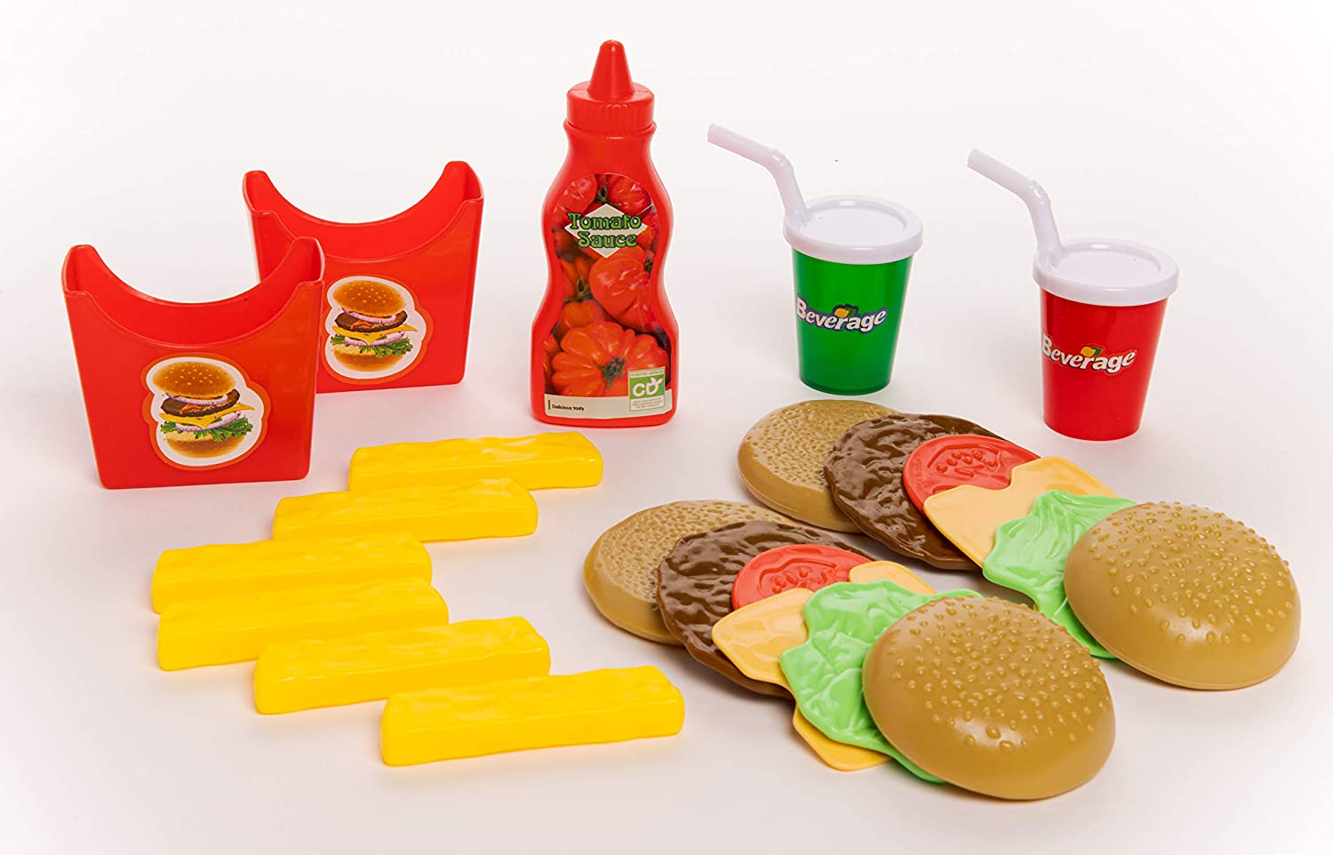 Toy Chef Fast Food Meal Playset, Pretend Play Burger, Fries, Soda, Toy Restaurant Food, Play Kitchen Accessories for Girls and Boys