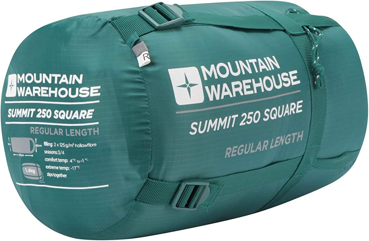 Camping Bag Petrol Blue Right Handed Zip 200cm Regular Length Mountain Warehouse Summit 250 Square Sleeping Bag