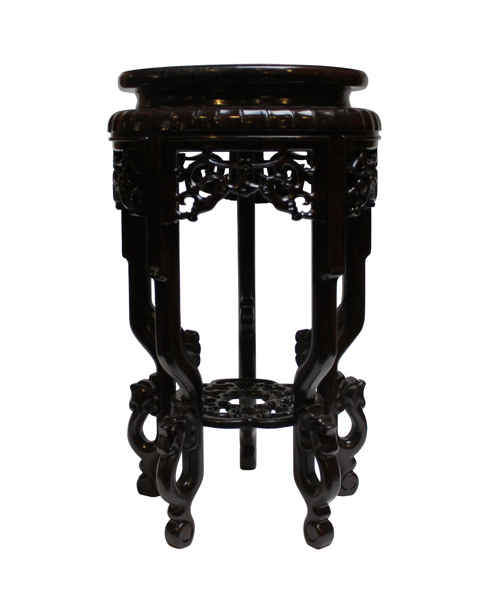 Chinese Brown Wood Round Tall Table Top Stand Display Easel Acs3711