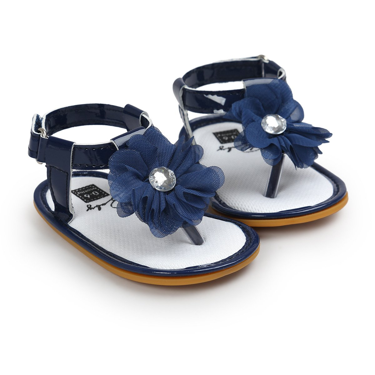 LAFEGEN Baby Girls Shoes Soft Anti-Slip Rubber Sole Flower T-Strap Summer Sandals Newborn Toddlers First Walkers Shoes