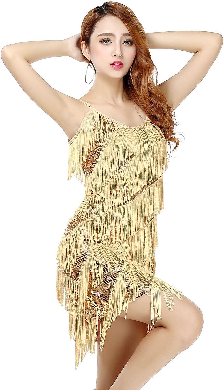 BELLYQUEEN Abito senza Maniche Gatsby Donna 1920S Abito con Frange Abiti con Paillettes Charleston Per Costume Festa Danza Latino 5 colori