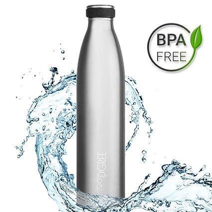 720°DGREE Botella Agua Acero Inoxidable milkyBottle – 1 Litro, 1l, 1000ml, Plateado | Novedoso Antigoteo con Termo de vacío térmico termica Beber en ...