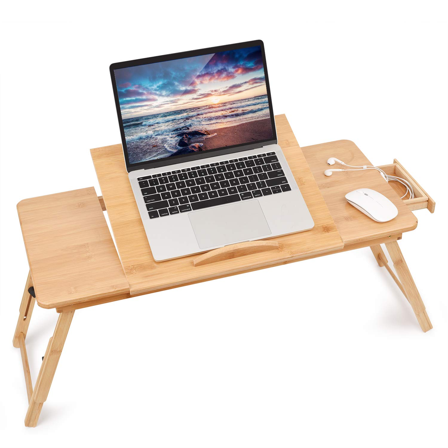 Laptop Desk for Bed, Large Right-Left Handed Adjustable Bamboo Serving Bed Tray Breakfast Table Tilting Top with Drawer by JS NOVA JUNS