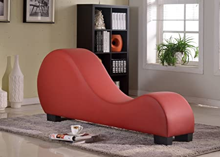 Container Direct 12 Container Furniture Direct Stretch Chaise Ultimate Faux Leather Curved Yoga and Lounge Chair, Deep Red, Regular,