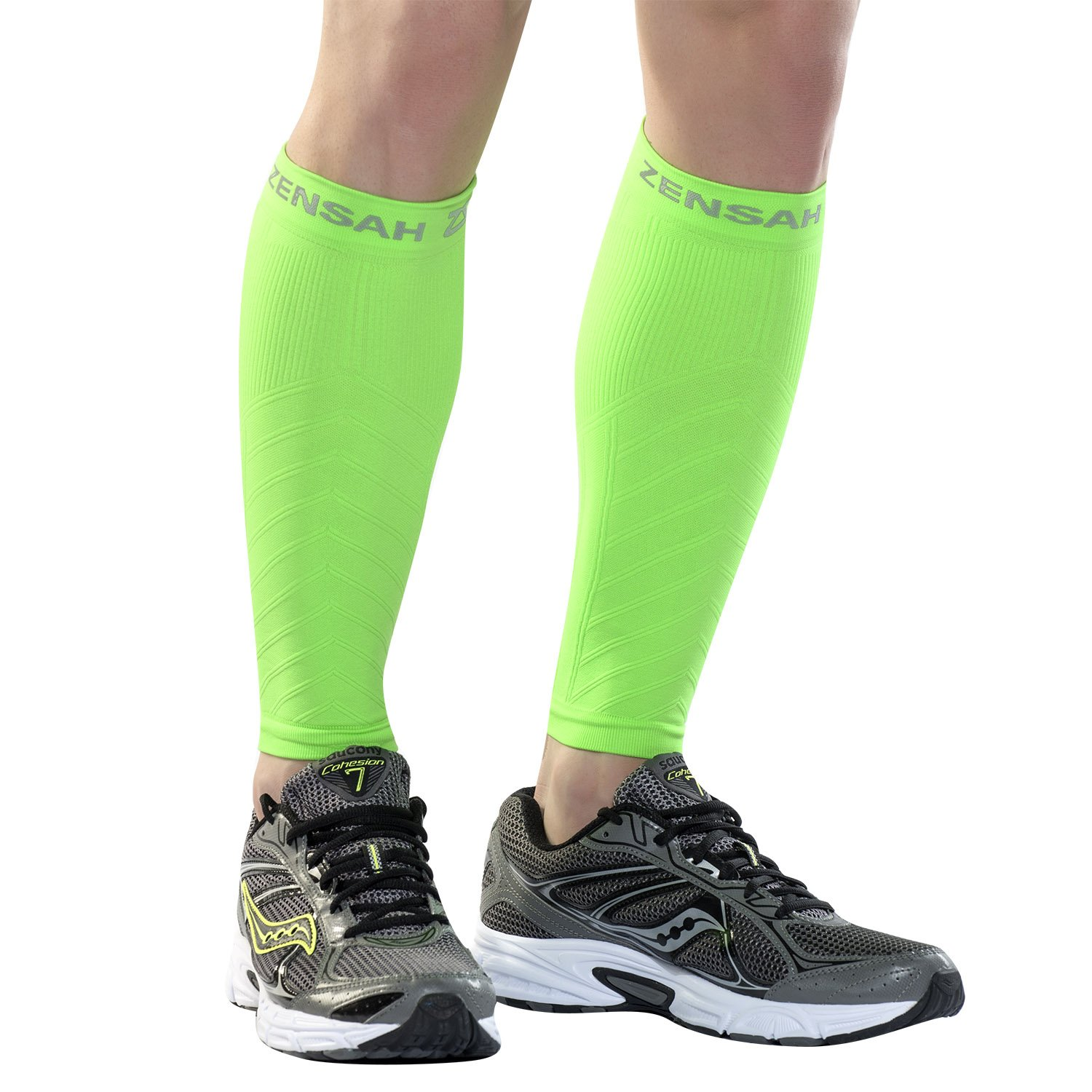 Zensah Compression Leg Sleeves, Neon Green, X-Small/Small