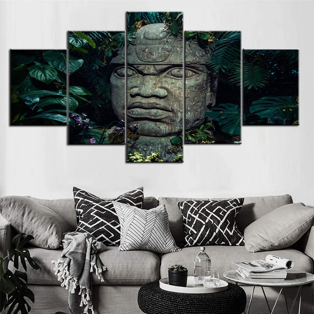 Room Wall Pictures Olmec Head Statue in Jungle Paintings Ancient Indian Religion Artwork 5 Piece Aztec Canvas Wall Art Retro Home Modern Decor Framed Ready to Hang Poster and Prints(60''W x 32''H)