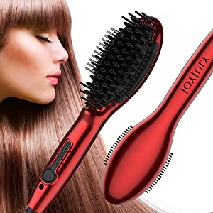 Hair Straightener Brush,Ionic Heated Straightening Hot Hair Brush with LED Display,Auto Safety Shut Off and Frizz-Free,Straightener Comb for Salon at Home