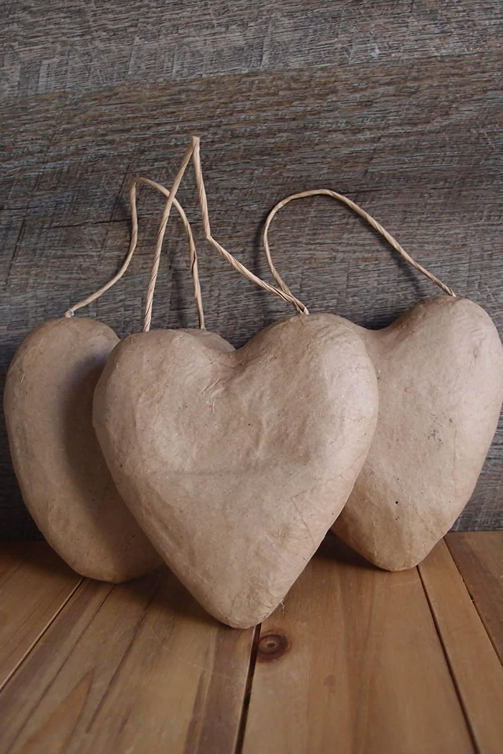 Richland Paper Mache Puffy Heart with String 5 Set of 24