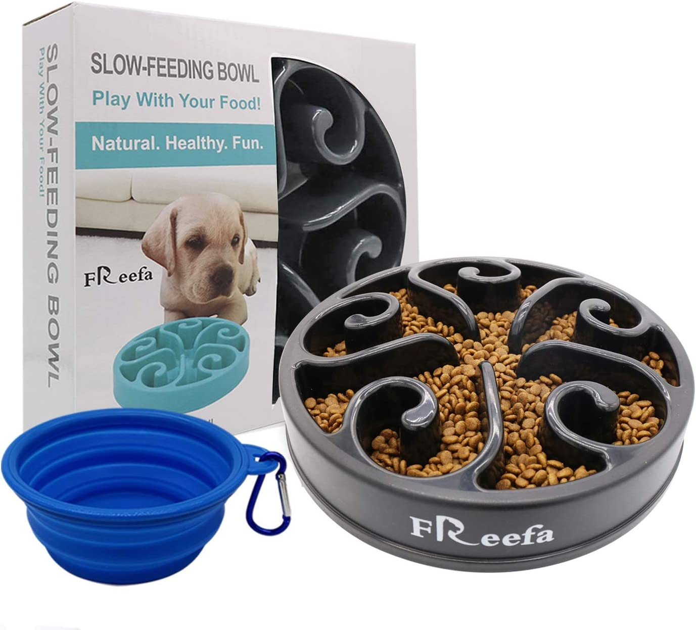 Freefa Slow Feeder Dog Bowl Bloat Stop Dog Food Bowl Maze Interactive Puzzle Non Skid, Come with Free Travel Bowl (Grey, for Small/Medium Dog)