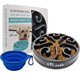 Freefa Slow Feeder Dog Bowl Bloat Stop Dog Food Bowl Maze Interactive Puzzle Non Skid, Come with Free Travel Bowl