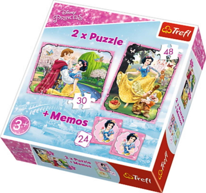 Trefl Princess Puzzle 2 en 1 avec Jeu de 24 Mémos modèle Princesses Disney, 90603