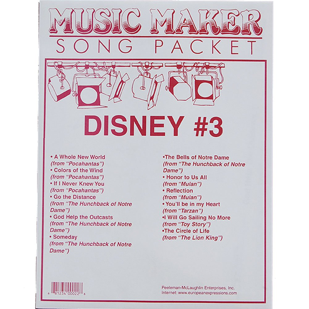 Disney #3 songsheet packet for the Music Maker European Expressions