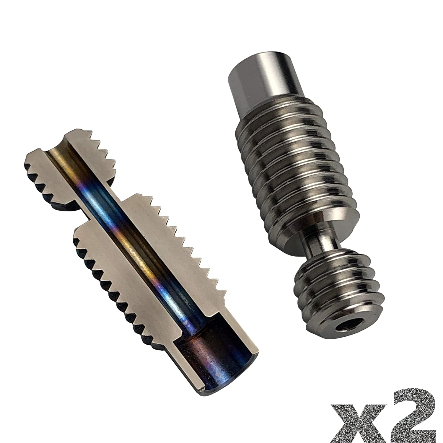 Titanium V6 heatbreak V2.3 by 3D passion (1.75mm, All-Metal, Our in-House New Design), 2-Pack.