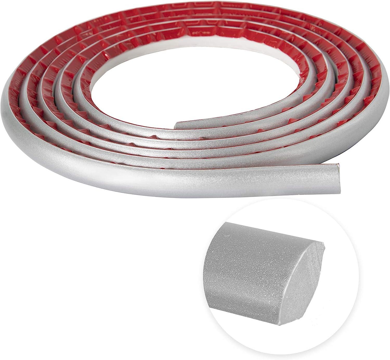 Flexible Quarter Round Molding Self Adhesive, Peel and Stick Tile CornerTrim, 16 Feet Waterproof Molding Trim for Cabinet Edge, Wall Edge, Ceilings Corner, Countertops(Silver)