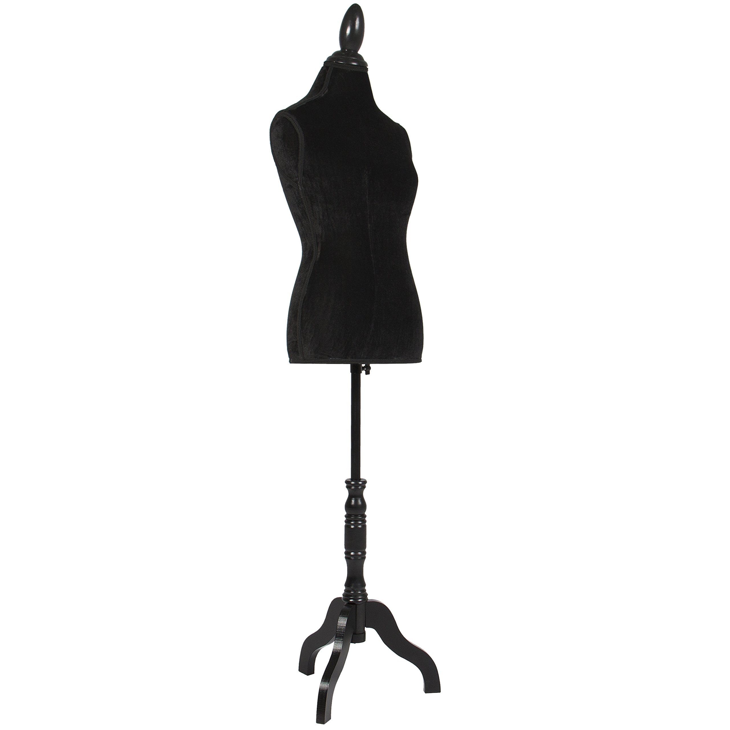 Best Choice Products Female Mannequin Torso Display w/Wooden Tripod Stand, Adjustable Height - Black by Best Choice Products