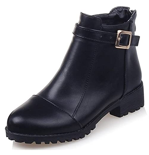 Women's Stylish Studded Rivets Buckled Belt Round Toe Back Zipper High Block Heel Ankle Booties