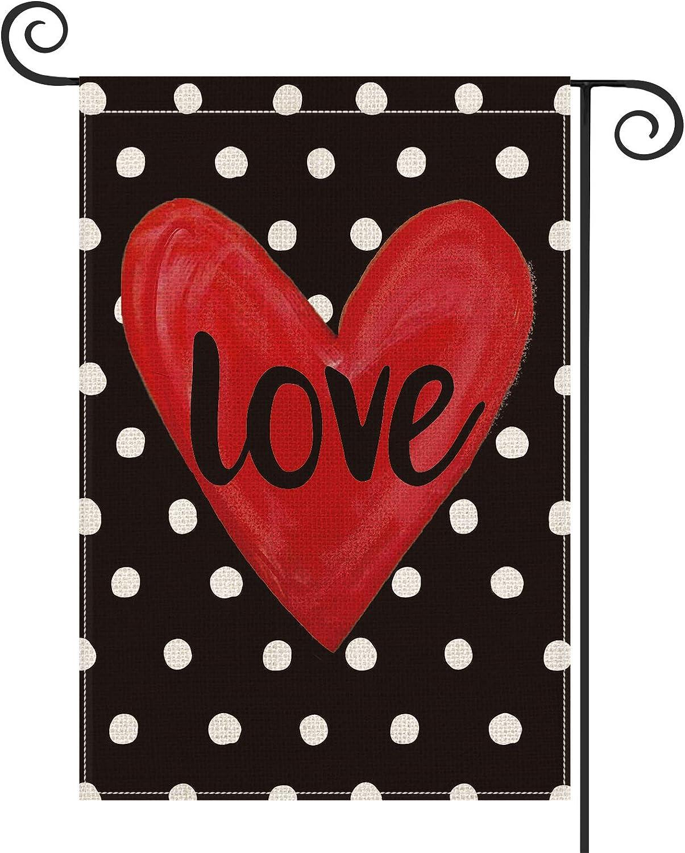 AVOIN Valentine's Day Polka Dot Love Heart Garden Flag Vertical Double Sized, Holiday Anniversary Wedding Yard Outdoor Decoration 12.5 x 18 Inch