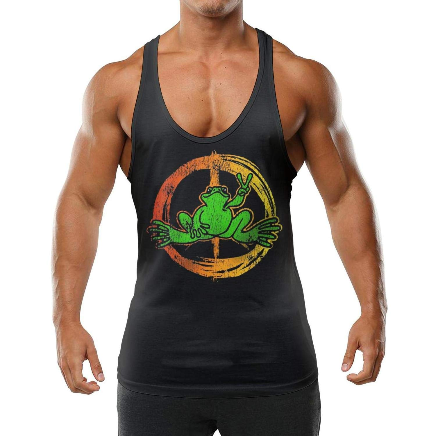 GTGTH Mens Sleeveless Tank Tops Peace Frogs Logo Vest Performance Stringer Waistcoats