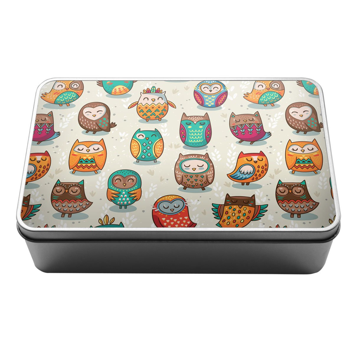 Colourful owls pattern owl lover cartoon Metal Storage Tin Box 161 Duke Gifts