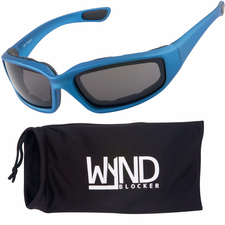 WYND Blocker Motorcycle & Biking Wind Resistant Sports Wrap Sunglasses (Blue / Smoke Lens)