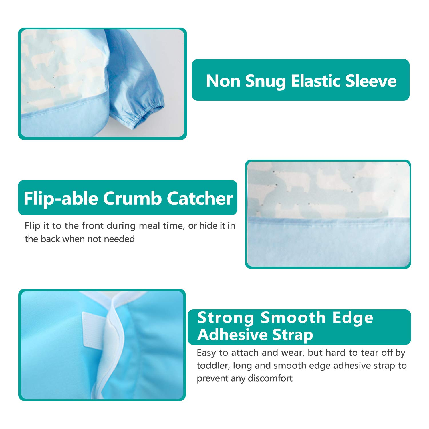 Play Smock Apron Baby Waterproof Bibs with Pocket Bundle 6-18 Months Pack of 3 Toddler Bib with Sleeves and Crumb Catcher 3 Pcs Long Sleeved Bib Set