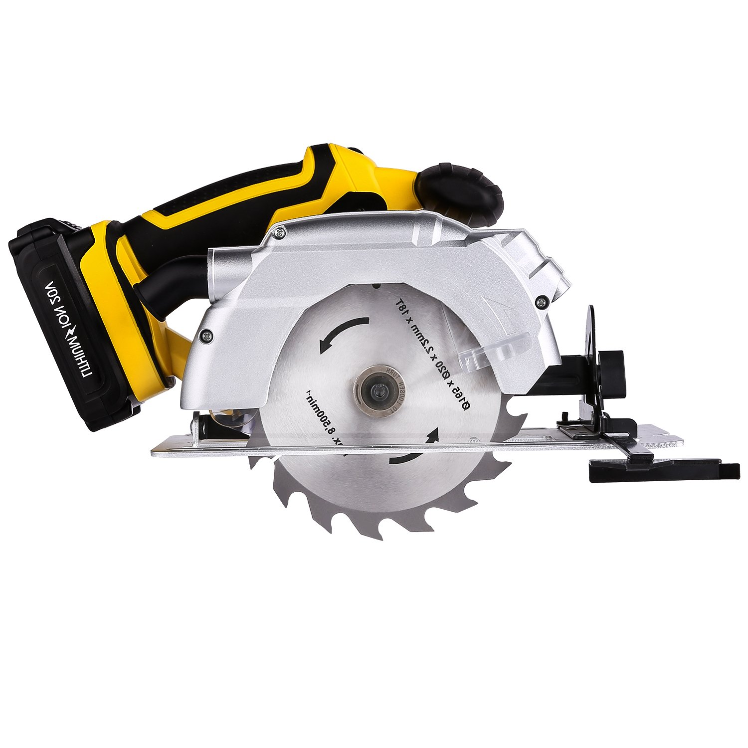 20V 6 1/2'' 7000 RPM Cordless Circular Saw with Laser Guide, Lightweight Wood Cutting Tools Electric Hand Circular Saw (5203-Cordless Circular Saw)