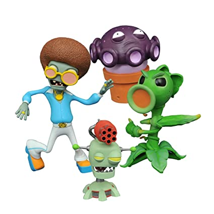 Diamond Select Toys Plants vs  Zombies: Peashooter vs  Browncoat Disco  Zombie Select Action Figure (2 Pack)