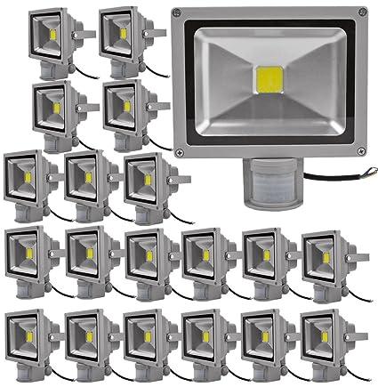 20pcs 50W Foco LED con Sensor Movimiento,ALPHA DIMA Foco Proyector con Iluminación LED y