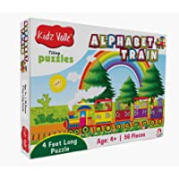 Kidz Valle Alphabet Train 4 Feet Long 56 Piece Tiling Puzzles (Jigsaw Puzzles, Puzzles for Kids, Floor Puzzles), Puzzles for Kids Age 4 Years and Above. Size: 28.5 cm x 28.5 cm