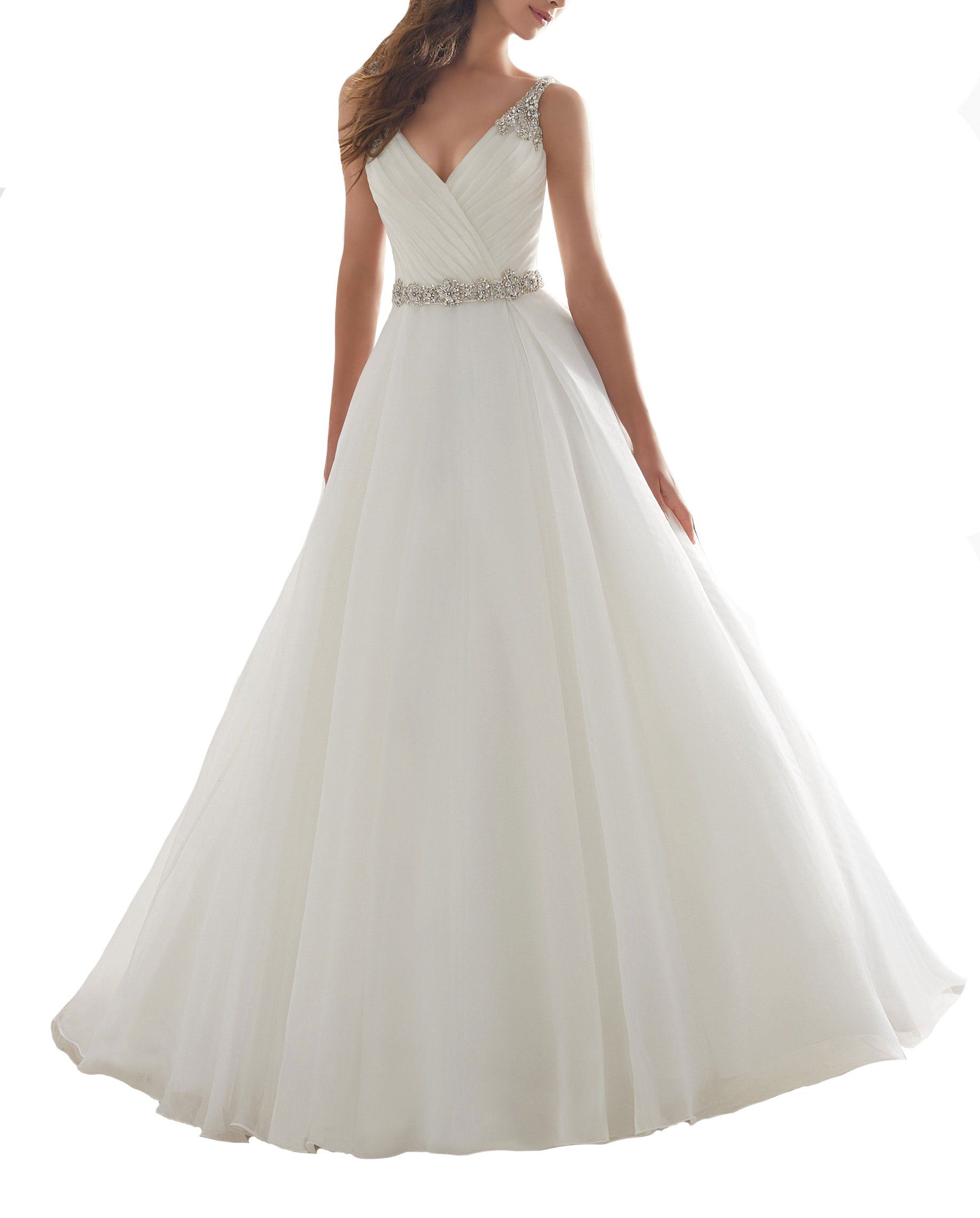 Elegant V-Neck Backless Wedding Bridal Dress Sleeveless Beaded Long Wedding Gown For Women US2
