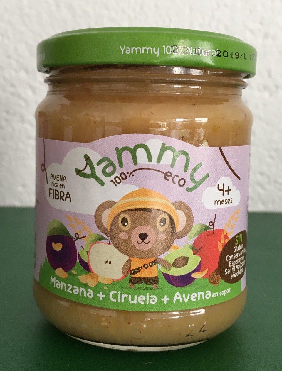 Yammy - Potito Ecológico de Frutas: Manzana+Ciruelas+Avena en Copos Pack 6 Unidades: Amazon.es: Alimentación y bebidas