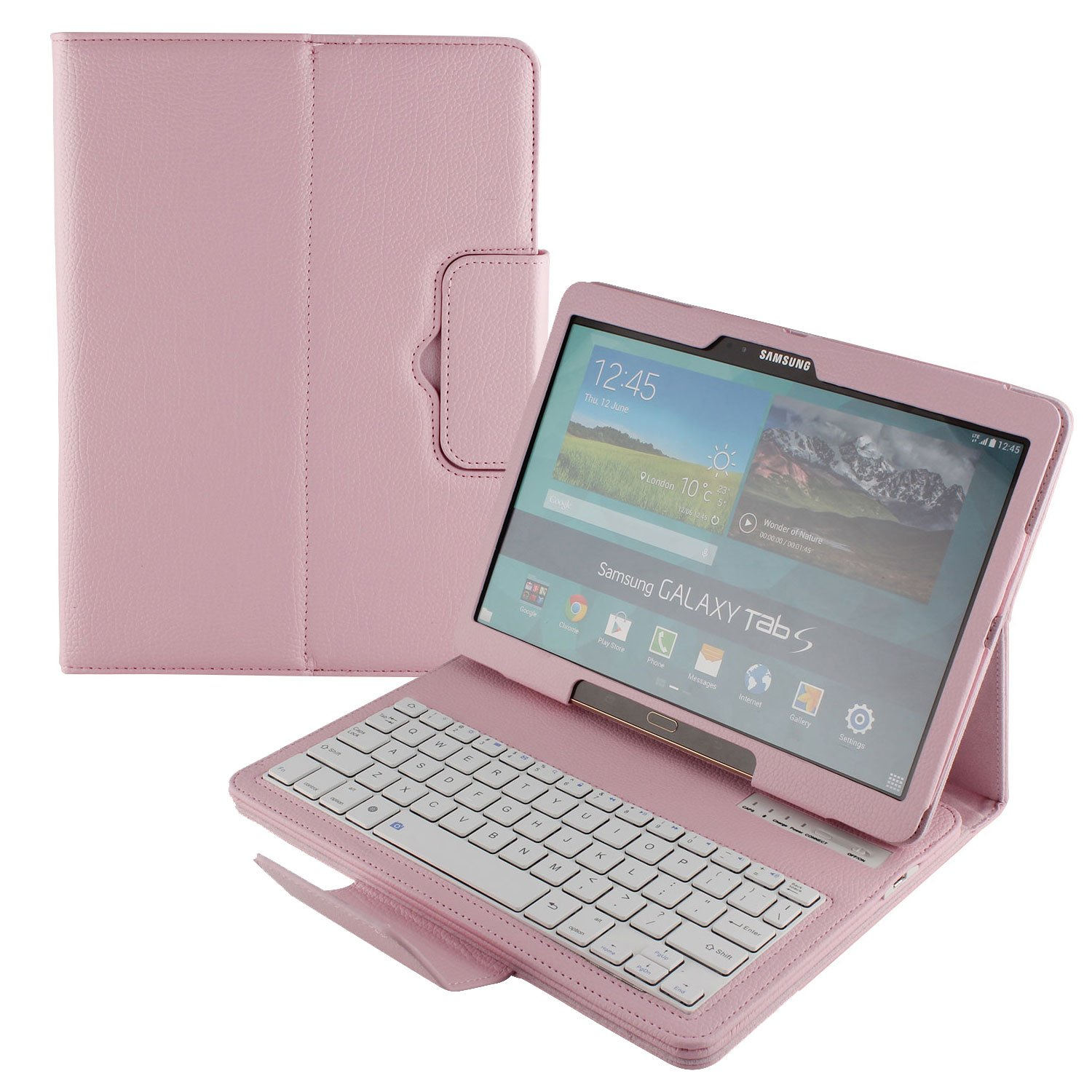 Cooper Cases(TM) CEO Keyboard Folio Case for Samsung Galaxy Tab S 10.5 in Pink (Detachable US QWERTY Keyboard, Dedicated Function Keys, Remote Control Camera Shutter Release, Built-in Display Stand)