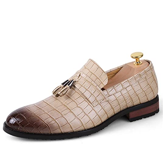 22bc5b1b5449 Tauntte Tassel Loafers Men Crocodile Pattern Formal Shoes Business Casual  Moccasins  Buy Online at Low Prices in India - Amazon.in