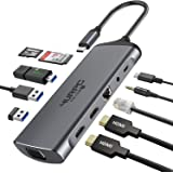 Dual Monitor Docking Station, 11-in-1 USB C to HDMI VGA Hub Adpater Dual Display for Window Laptop with 2 4K HDMI, VGA, 3 USB-A, USB-C PD and SD/MicroSD Slot