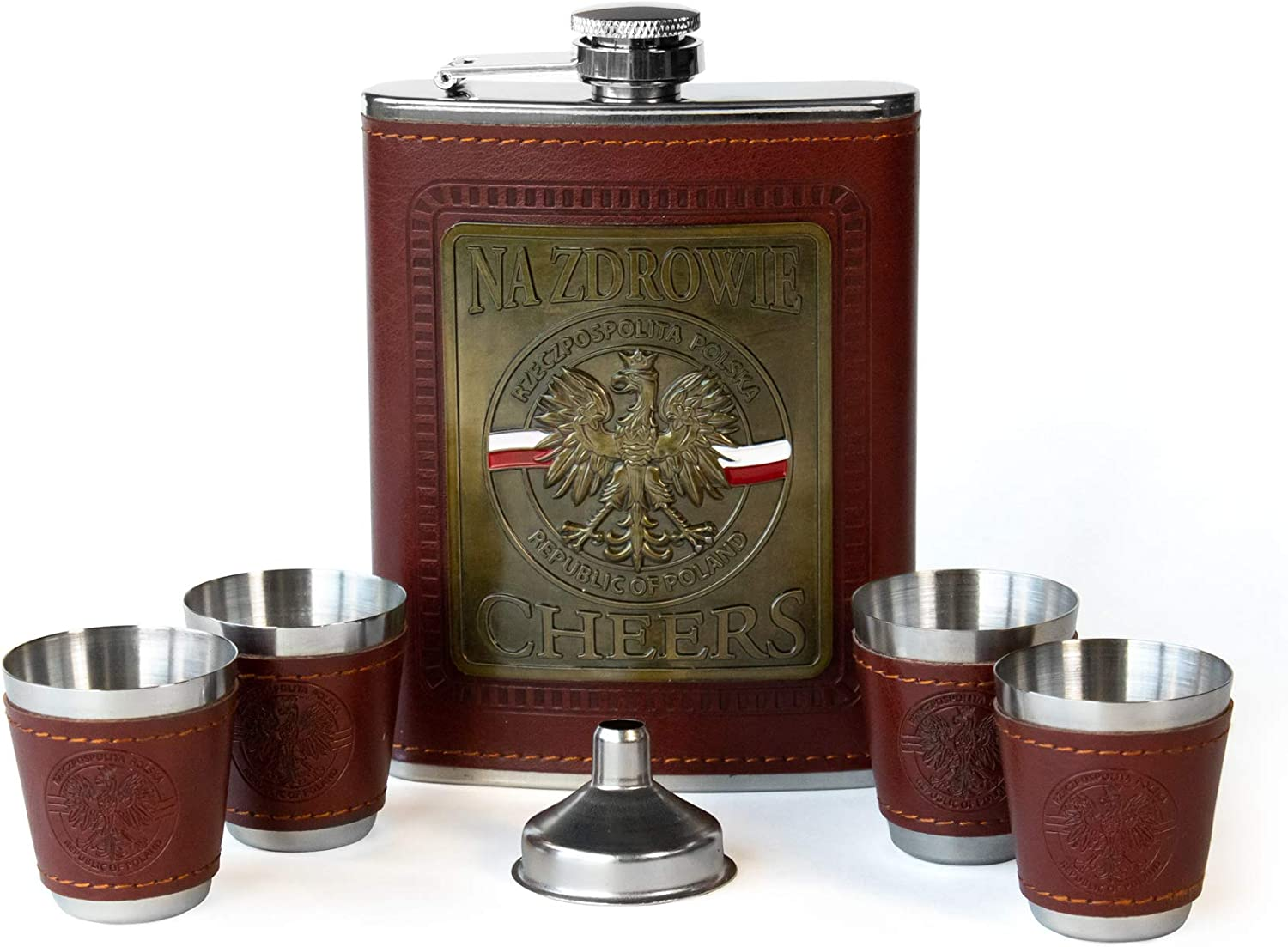 Polart - Stainless Steel Gift Boxed set of Na Zdrowie - Cheers Republic of Poland (Rzeczpospolita Polska) Polish Flask and Four Shot Glasses with the Funnel, Flask Sets for Men