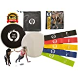 Kaizen Resistance Loop Bands And Sliding Discs Set: Fitness Gear For Full Body Workout, Elastic Latex Bands For Men And Women, Double-Sided Gliding Discs For Core Exercises And Strength Training