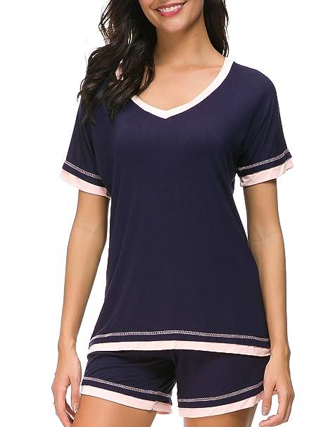 250f76ab27 Dolay Sleepwear Sets Women s V-Neck Pajama Short Set Soft Loungewear  Nightwear (Small