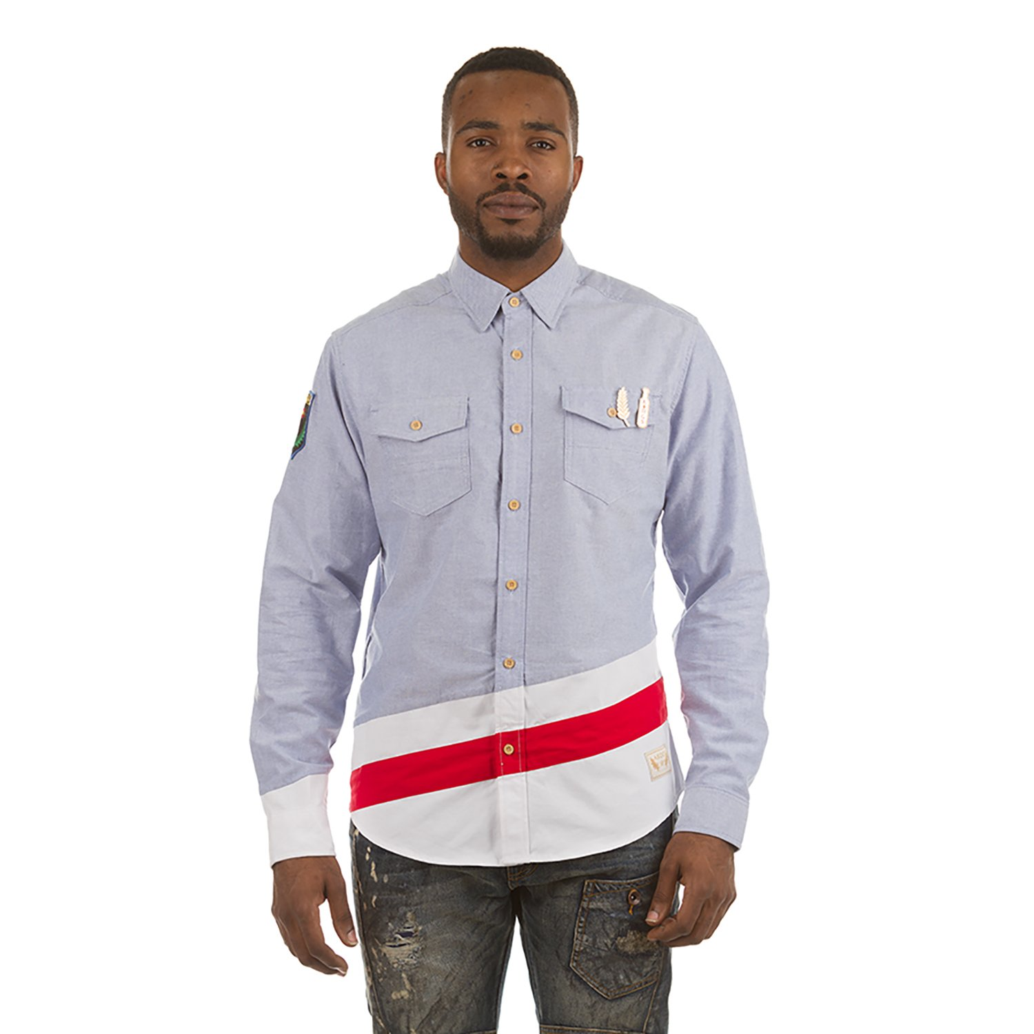 Akoo Undergrad L//S Woven Button Down Shirt In Blue Oxford 781-1600