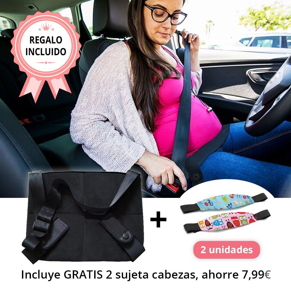 Tillmanns® Cinturon Embarazada Coche Con 2 Sujeta Cabezas De Regalo - Cinturon Embarazo - Cinturón