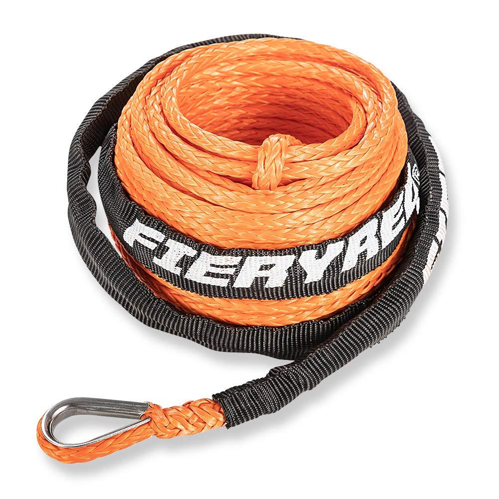 39 Rock Guard 1//4 x 50 7000+ LBs Hawse Fairlead Black Synthetic Winch Line Cable Rope Heat Guard Rubber Stopper Kit for Jeep SUV ATV UTV KFI