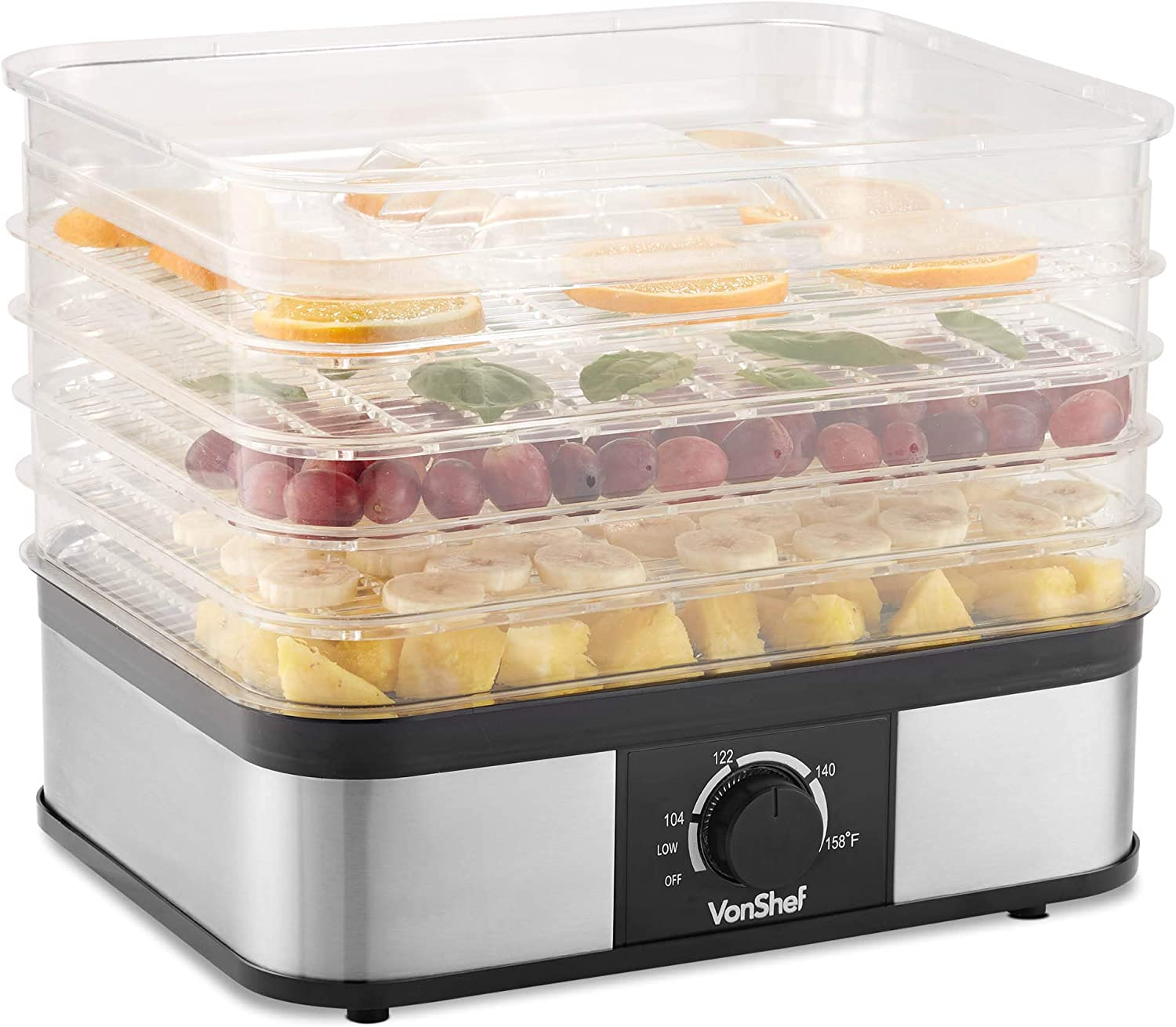 VonShef Dehydrator 5 Tray Food Machine Stainless Steel for Beef Jerky, Vegetables, Fruit & Dog Snacks 250W