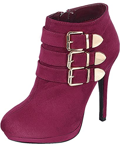 Women's Dress Buckle Strappy Stiletto High Heel Ankle Bootie