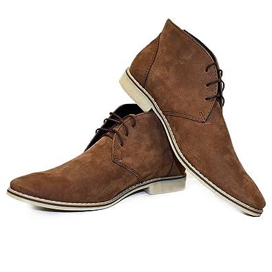 48cd5c1c4ff734 PeppeShoes Modello Tarrora - 39 - Handgemachtes Italienisch Leder Herren  Braun Stiefeletten Chukka Stiefel - Rindsleder