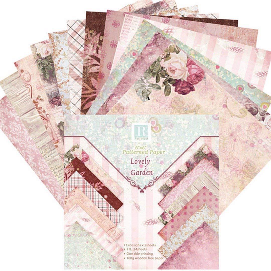 Zeagro 15,2 x 15,2 cm 24 Hojas de Papel con dise/ño de Flores rom/ánticas para /álbumes de Recortes