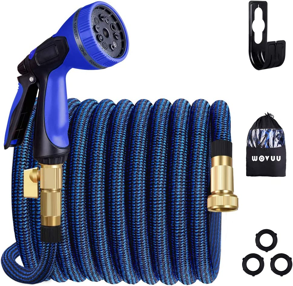 WOVUU Garden Hose Expandable 50FT,Flexible Durable Water Hose with 10 Spray Hose Nozzle/Lightweight No-Kink/3750D Fabric/3-Layers Latex/3/4