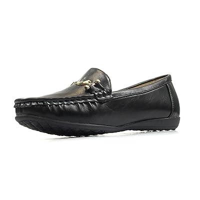 Pierre Dumas Women's Hazel-7 Black Leather Loafers Comfort Shoes (7.5, Black/Karl1)