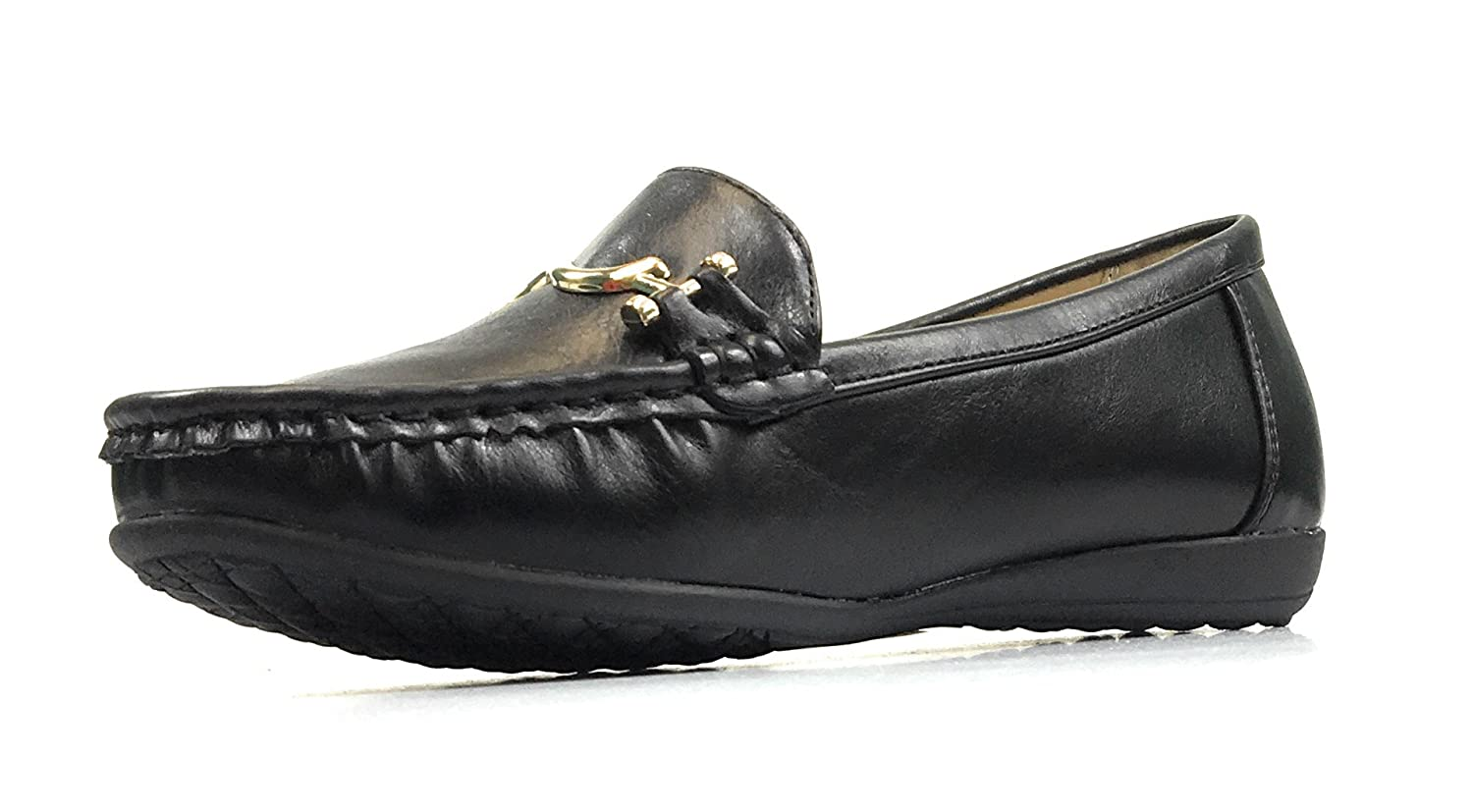 Pierre Dumas Women's Hazel-7 Black Leather Loafers Comfort Shoes (7.5, Black/Karl1)